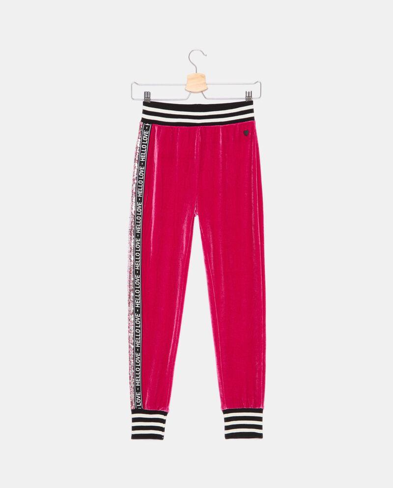 Pantaloni in ciniglia con inserti in paillettes ragazza cover