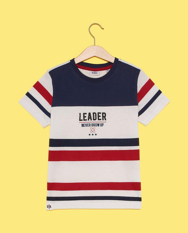 T-shirt con motivo a righe in puro cotone bambino