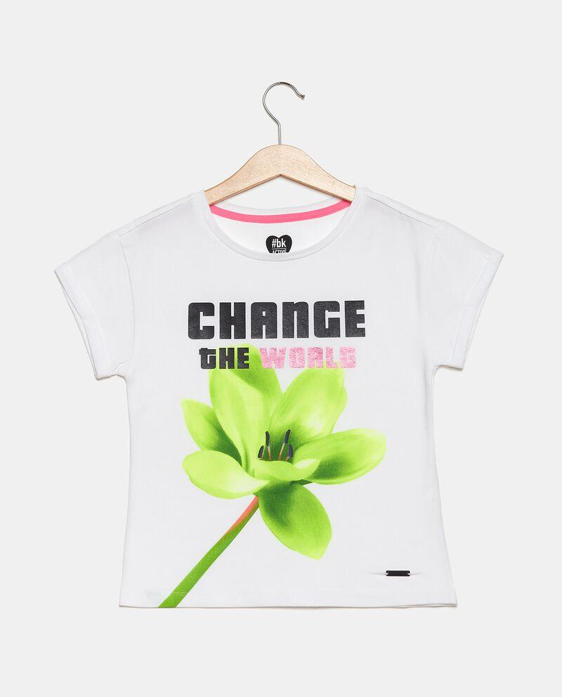 T-shirt girocollo stampata in cotone elasticato ragazza