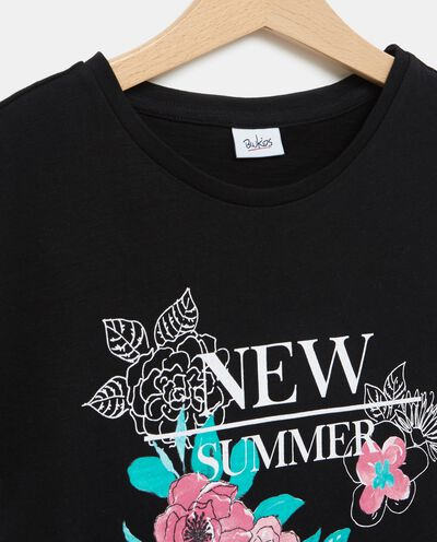 T-shirt nera in puro cotone con maniche corte ragazza