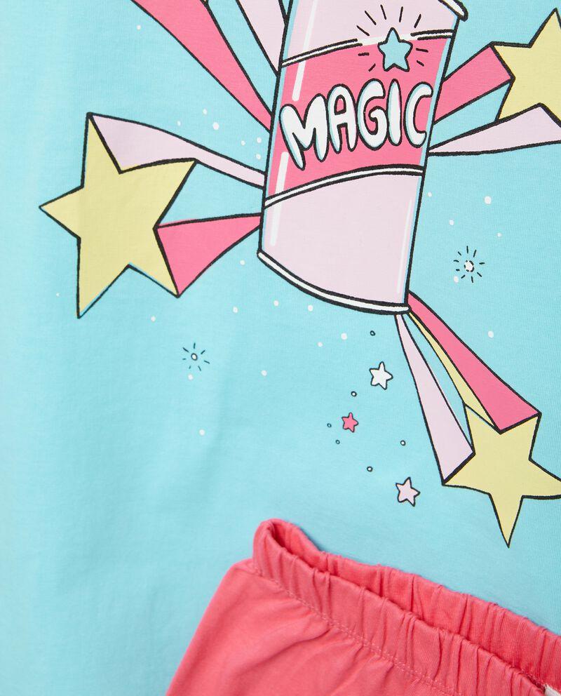 Set pigiama t-shirt e shorts in tinta unita bambina