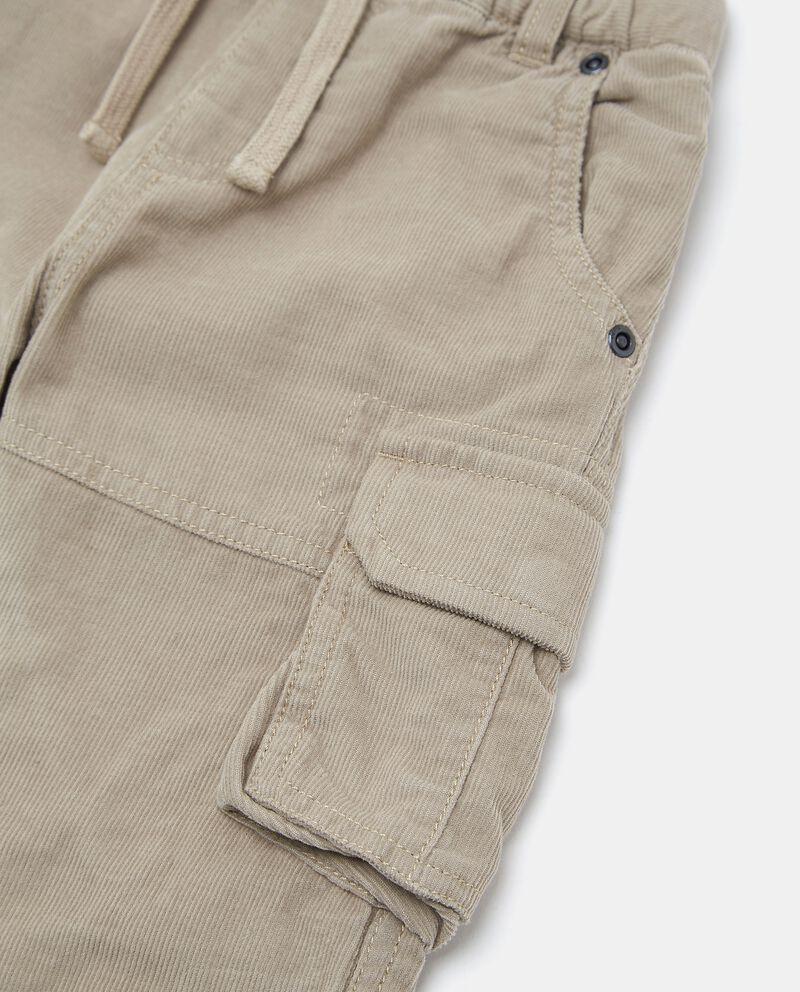 Pantaloni cargo in puro cotone con effetto velluto neonato