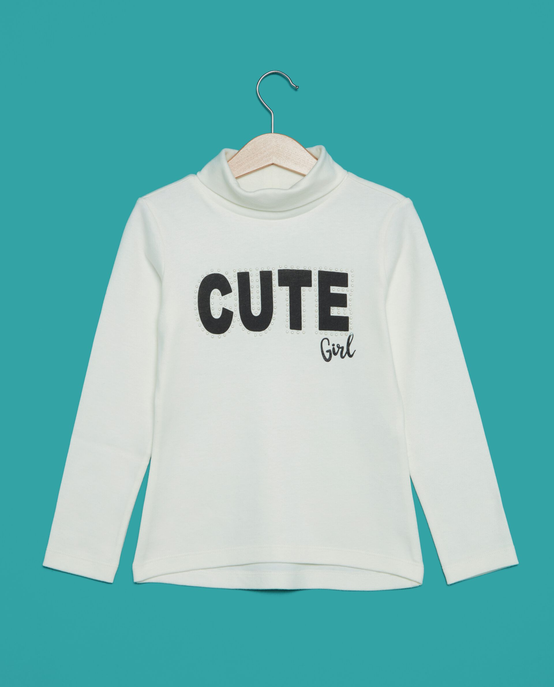 T-shirt in puro cotone a collo alto bambina