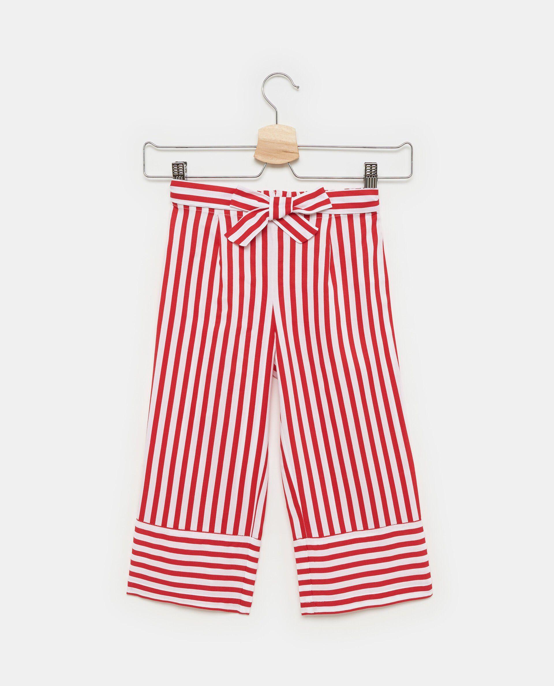 Pantaloni in pura viscosa con motivo a righe bambina