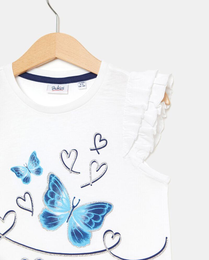 T-shirt in puro cotone con maniche con alette bambina