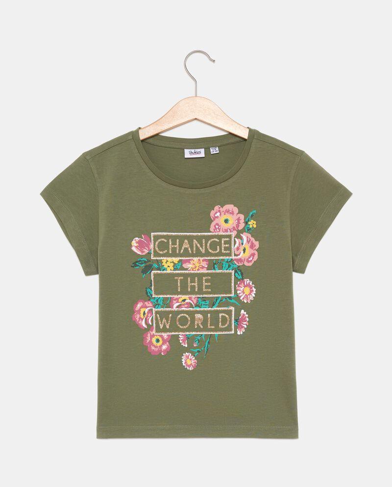 T-shirt con stampa floreale in puro cotone ragazza cover
