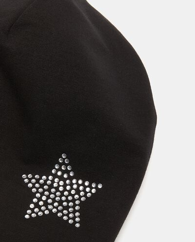Berretto in cotone elasticato con strass detail 1
