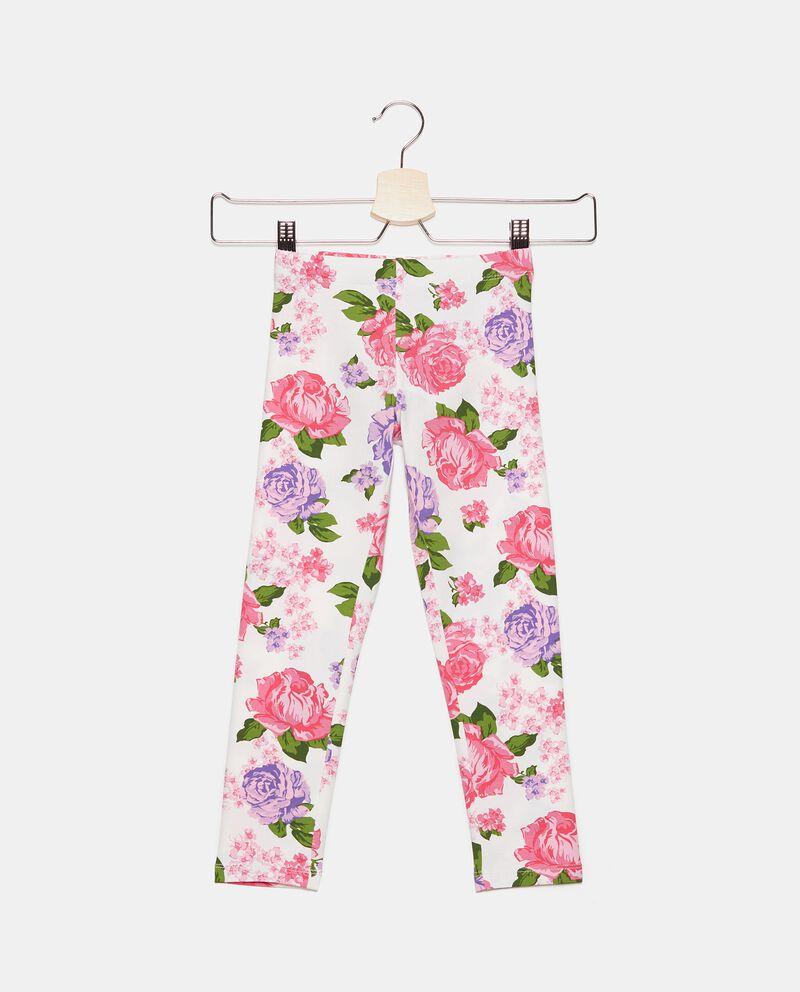 Leggings in fantasia floreale di cotone elasticizzato bambina