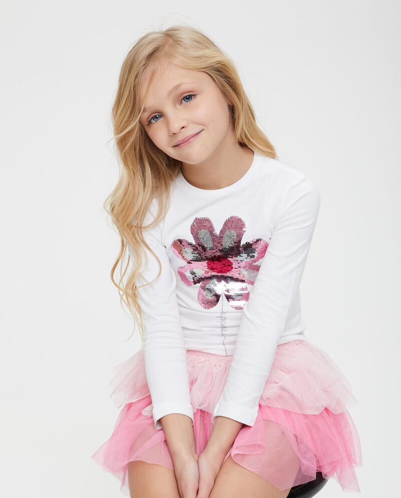 T-shirt maniche lunghe paillettes fiore