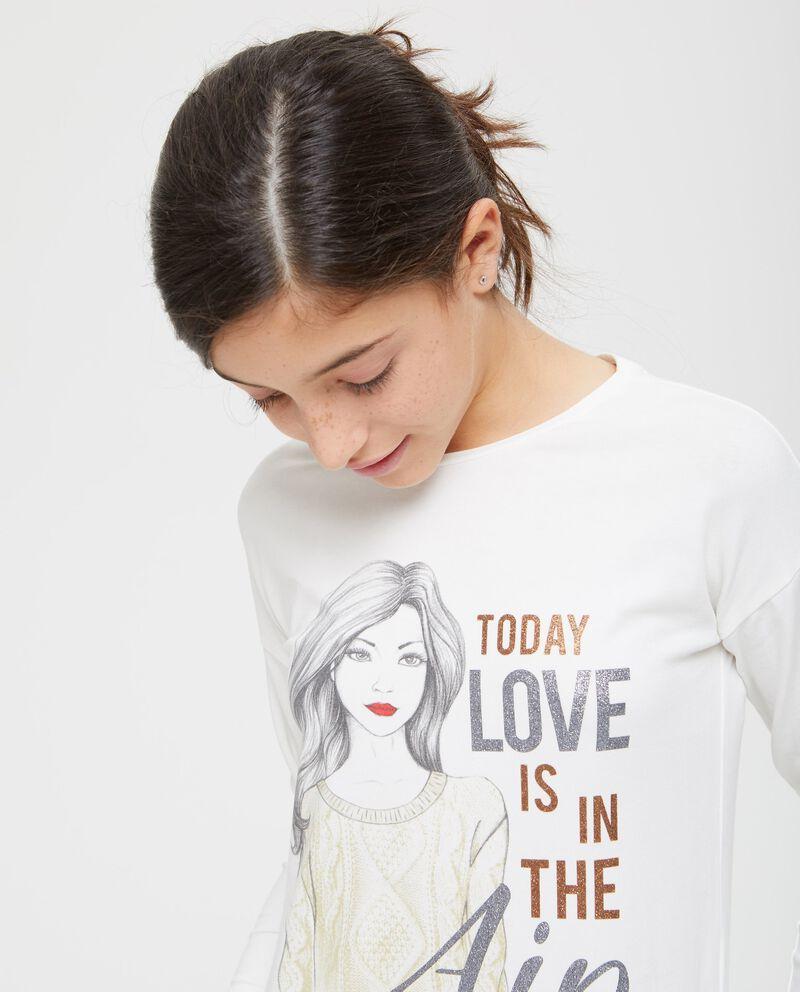 T-shirt cotone stretch stampa glitter