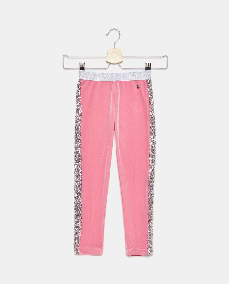 Pantaloni effetto velluto con bande laterali