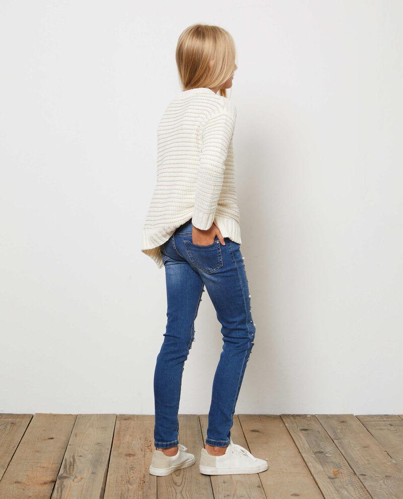 Jeans stretch used con perline e borchie
