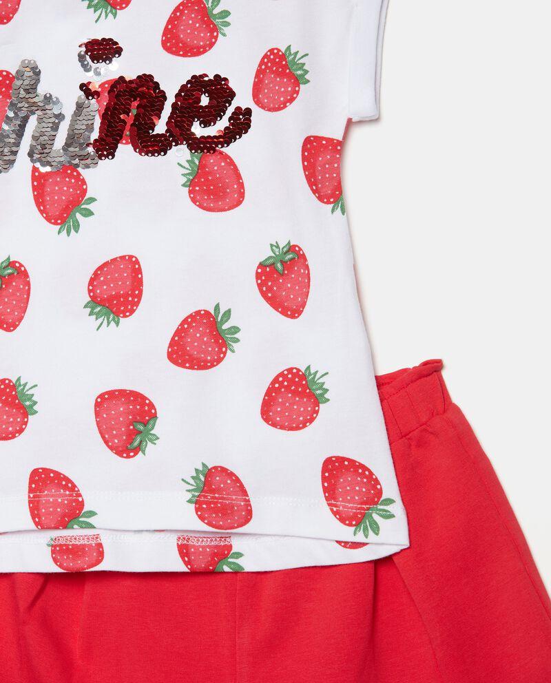 Set con t-shirt e shorts in cotone organico jersey bambina