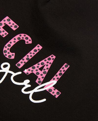Berretto in cotone elastico con lettering in glitter detail 1