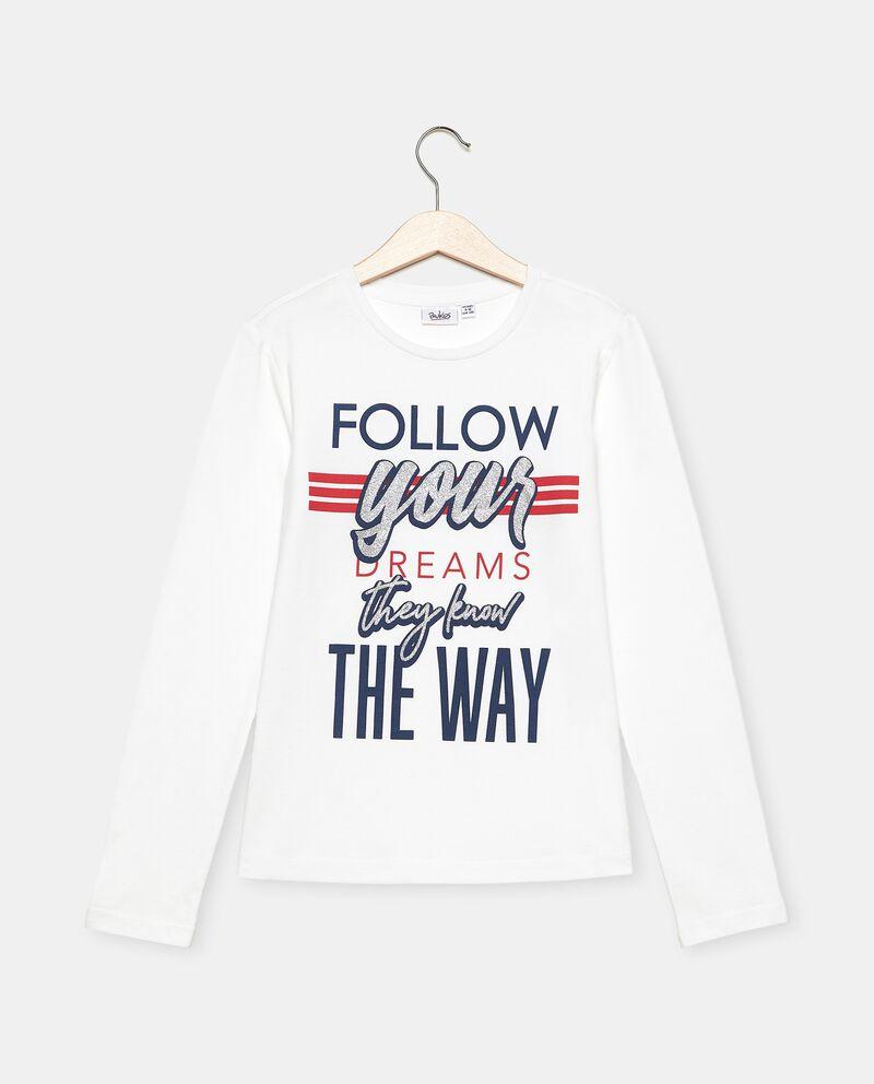 T-shirt in cotone organico jersey con stampa ragazza