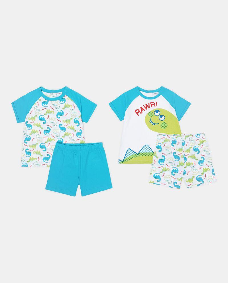 Set pigiama t-shirt e shorts tinta unita e fantasia neonato