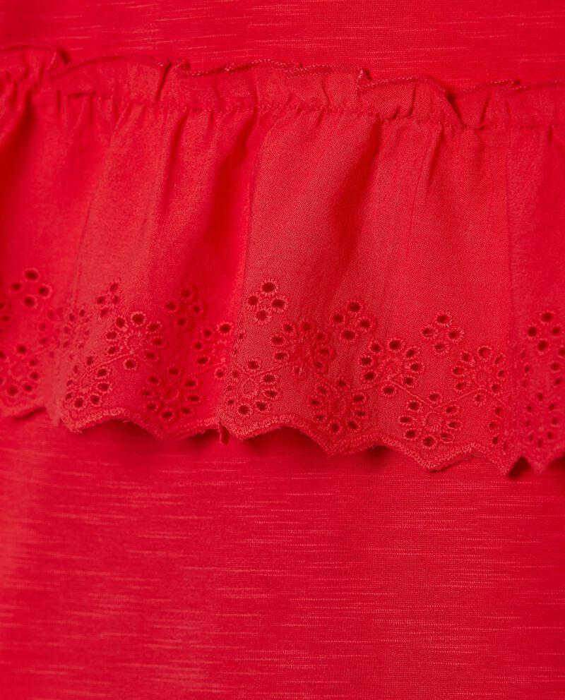 Maglia in puro cotone con dettagli sangallo bambina