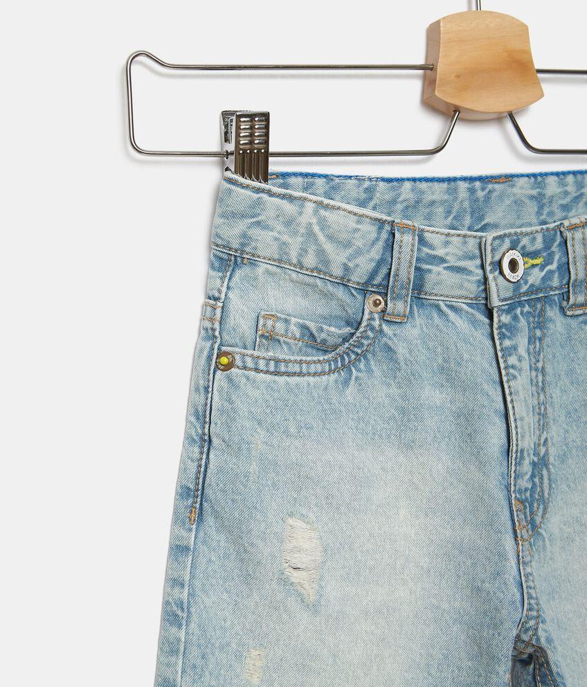 Shorts denim con lavaggio stone bambino double 2