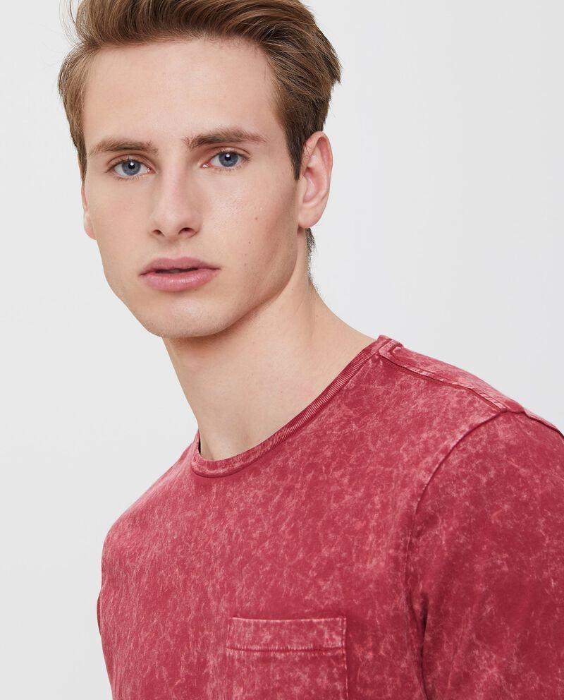 T-shirt in puro cotone effetto vintage rossa