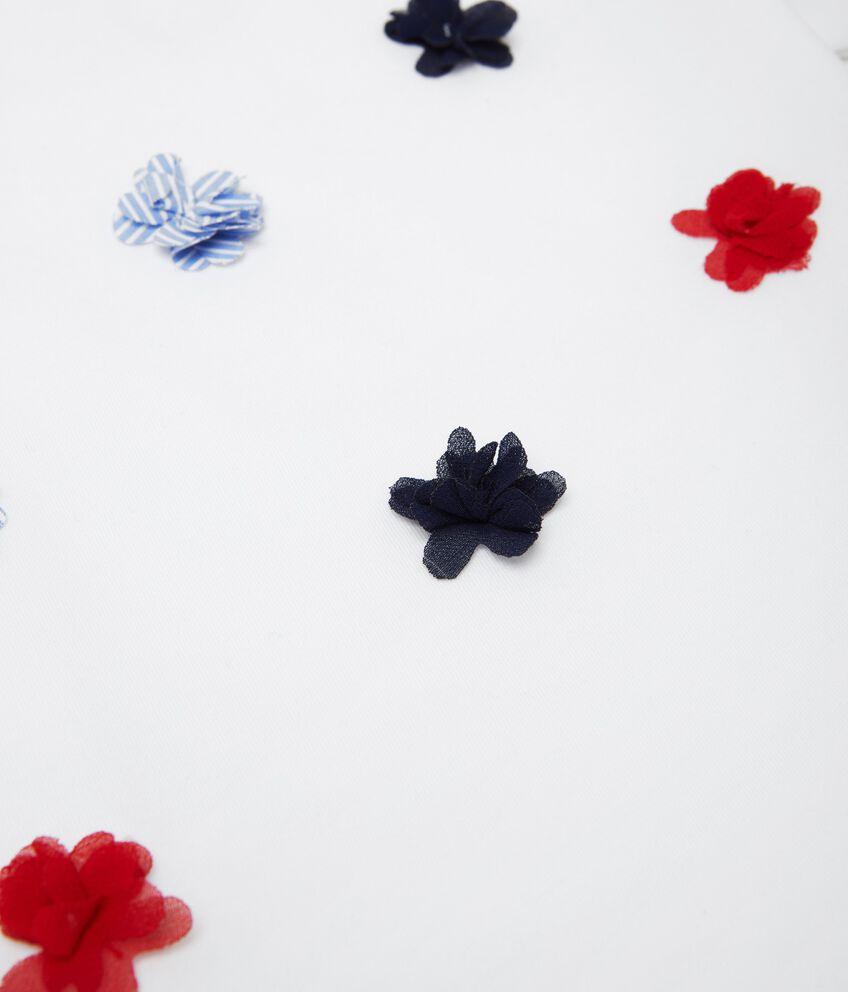T-shirt con fiori applicati e maniche a sbuffo neonata