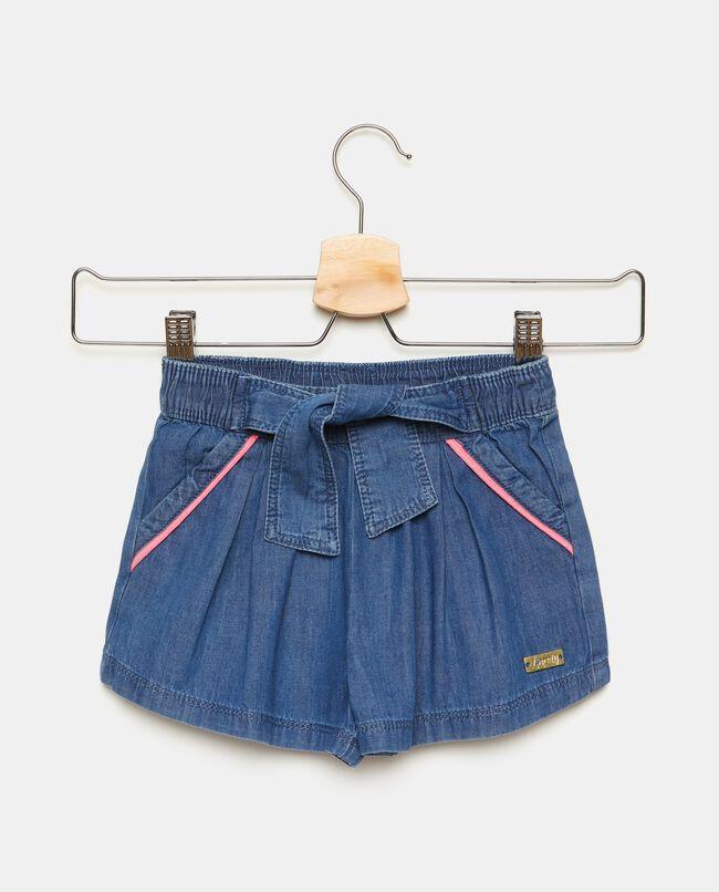 Shorts in puro cotone denim bambina