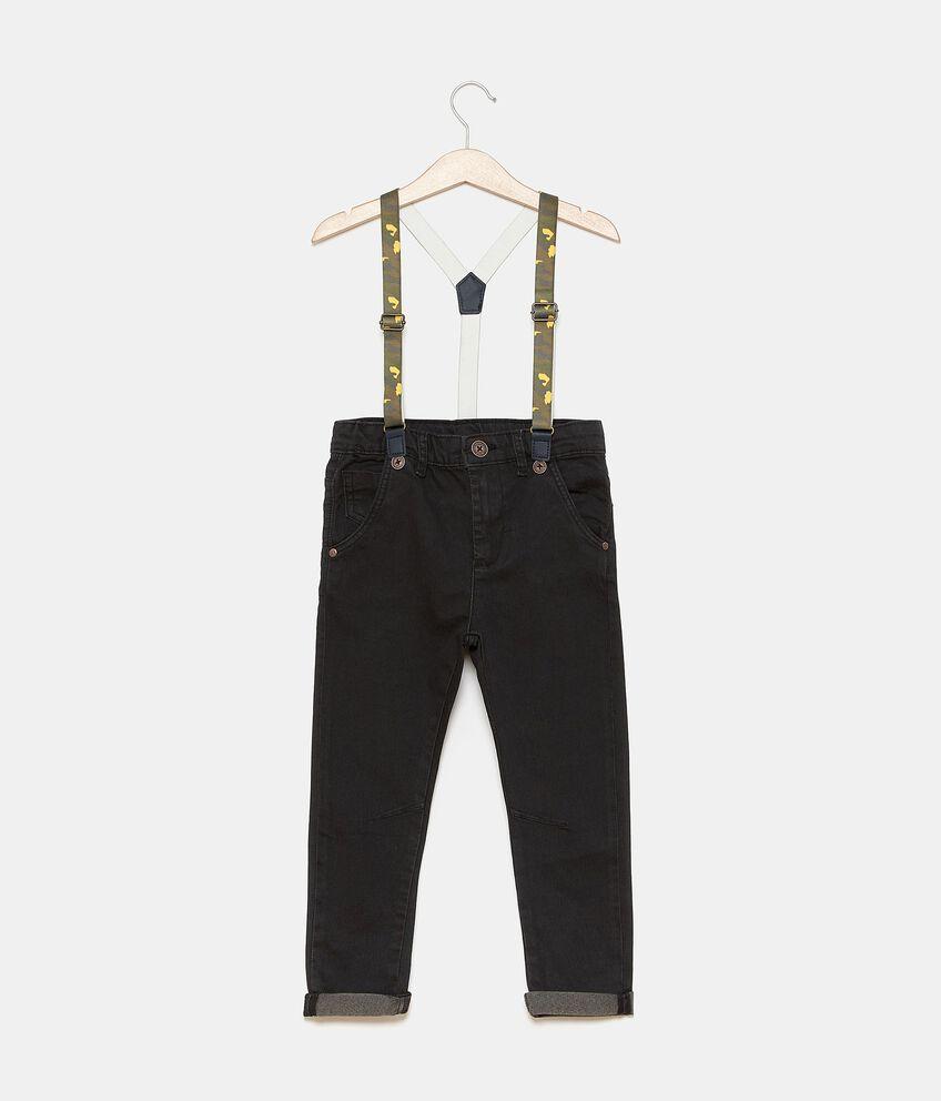 Pantaloni in tinta unita con bretelle