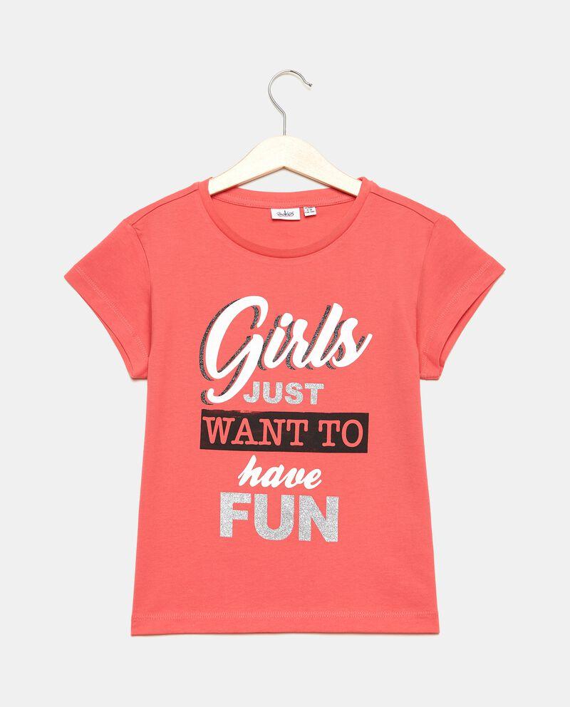T-shirt in cotone organico jersey stampata ragazza
