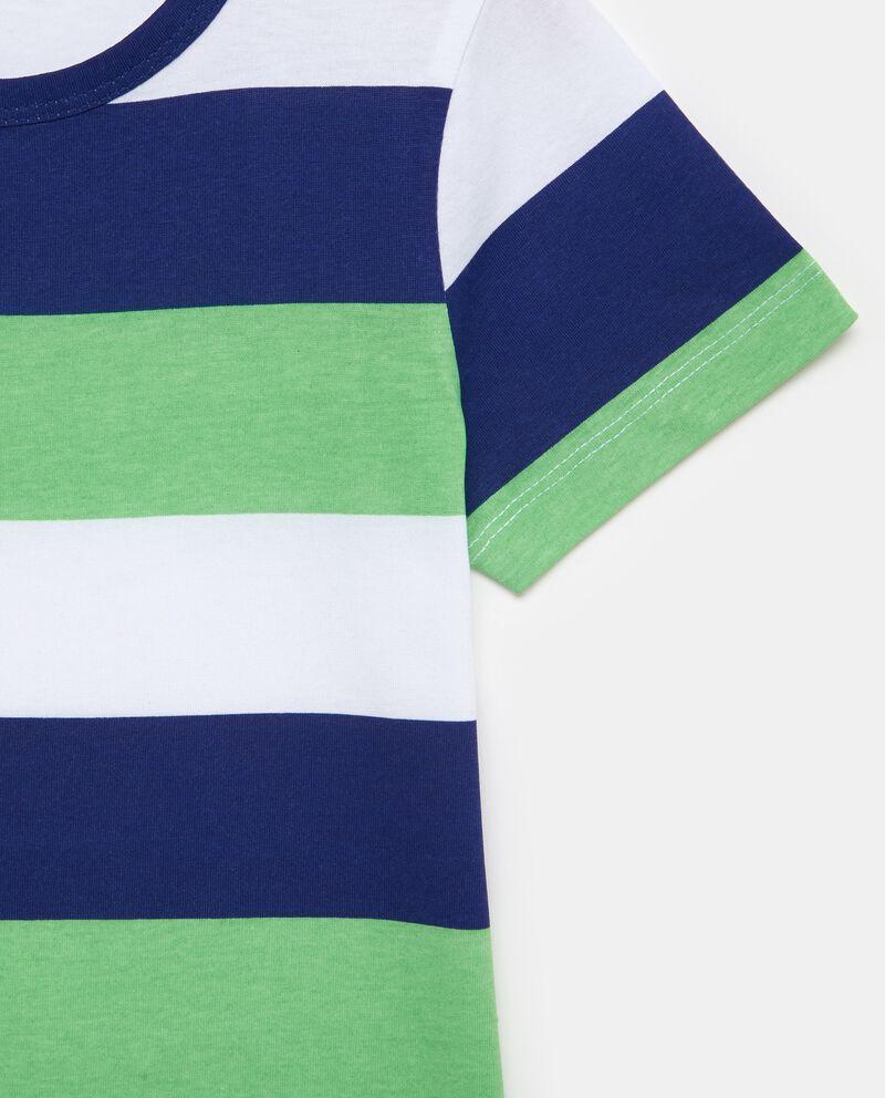 T-shirt con motivo a righe ampie in puro cotone bambino