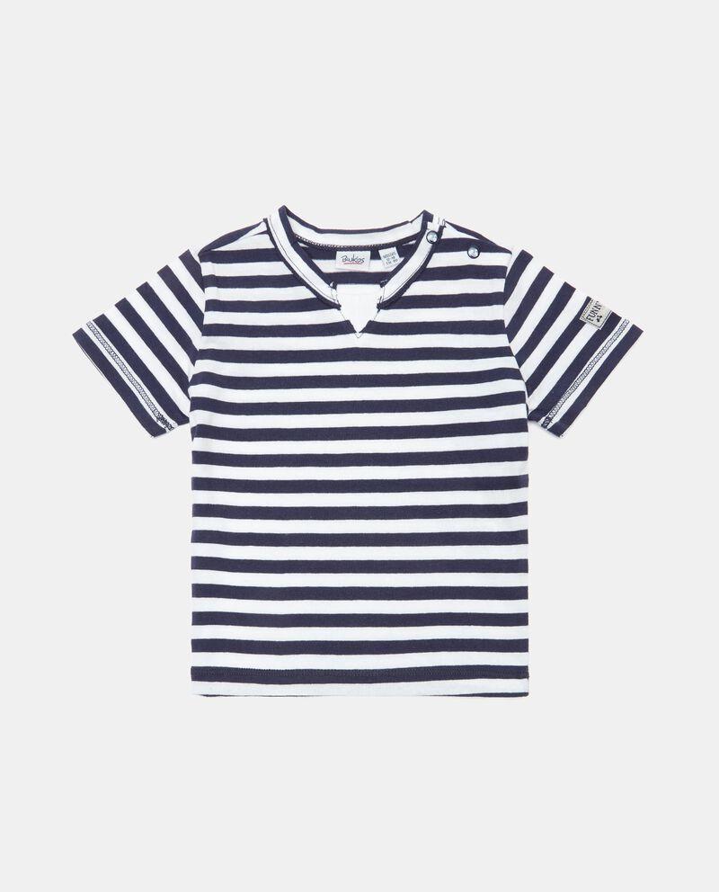 T-shirt rigata in cotone organico neonato