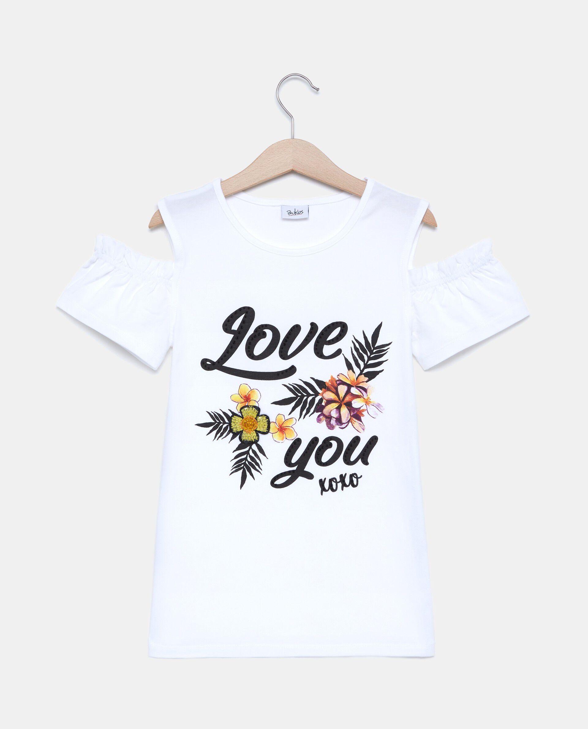 T-shirt inserto fiore con stampa