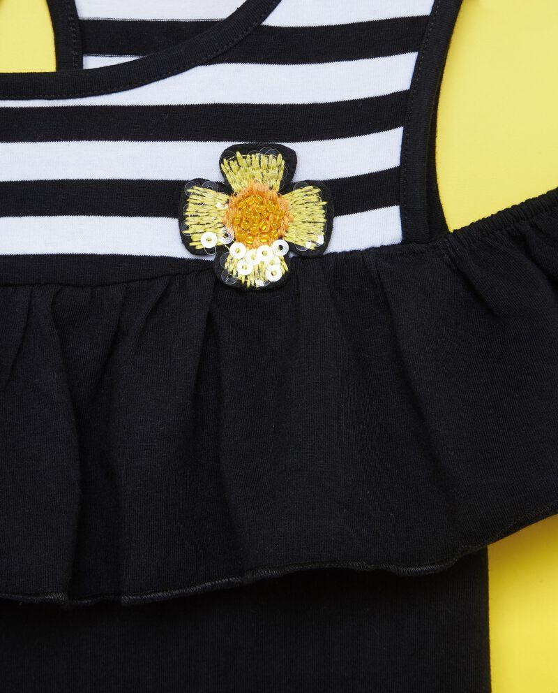 T-shirt cotone stretch inserto fiore