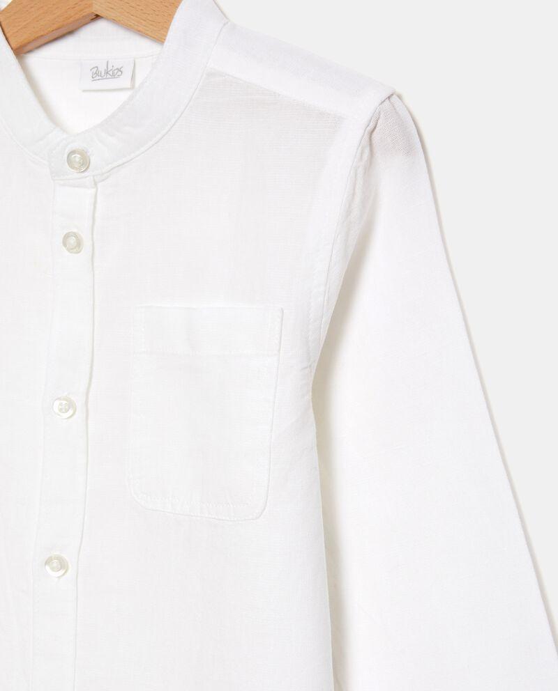 Camicia tinta unita di cotone misto lino bambino