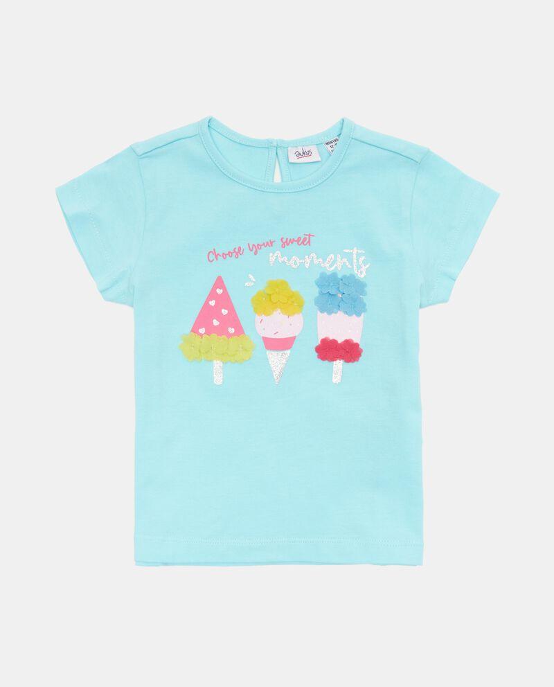 T-shirt con ricamo 3D in cotone organico neonata