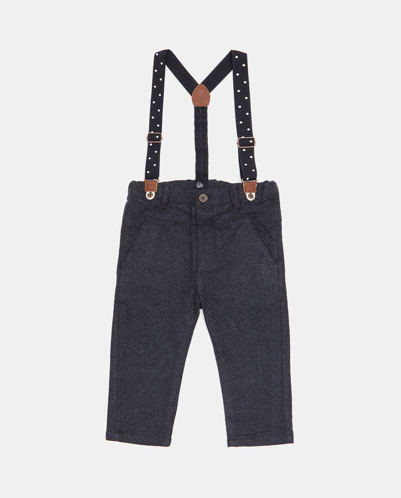 Pantaloni con bretelle in puro cotone neonato cover