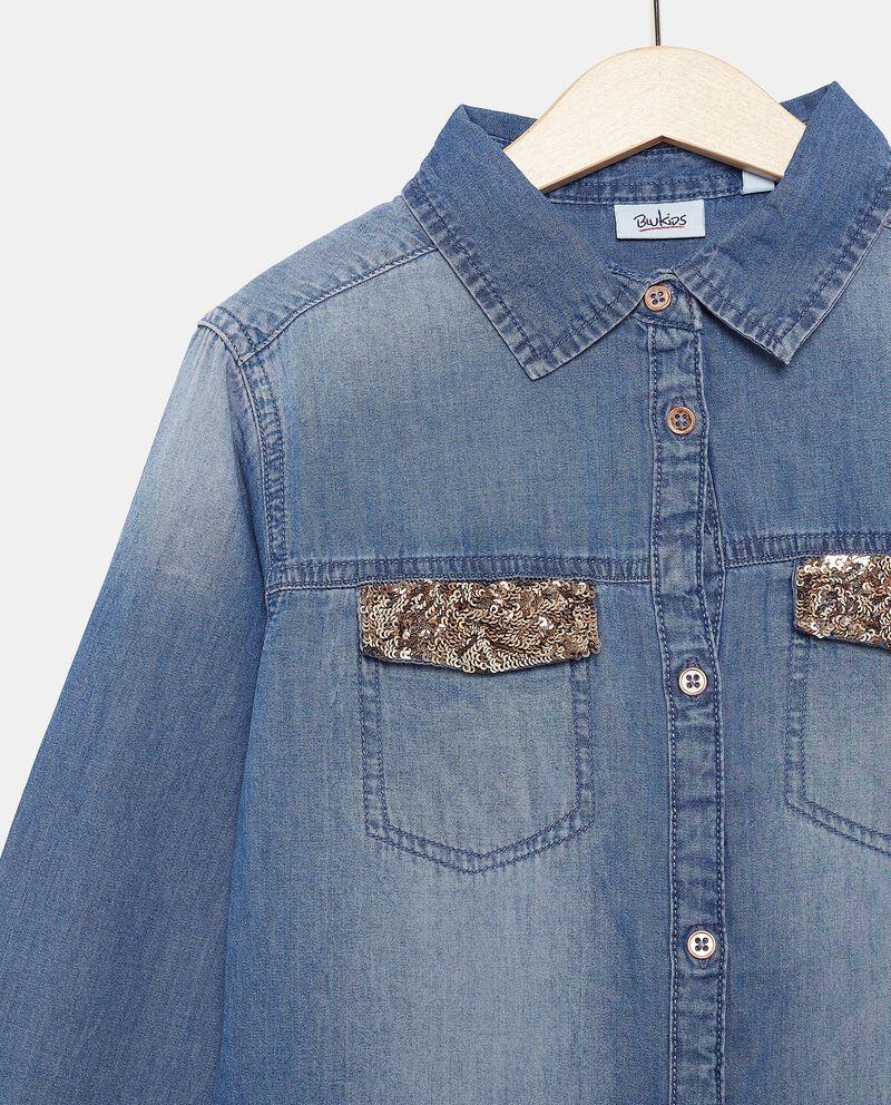 Camicia in chambray a maniche lunghe ragazza single tile 1