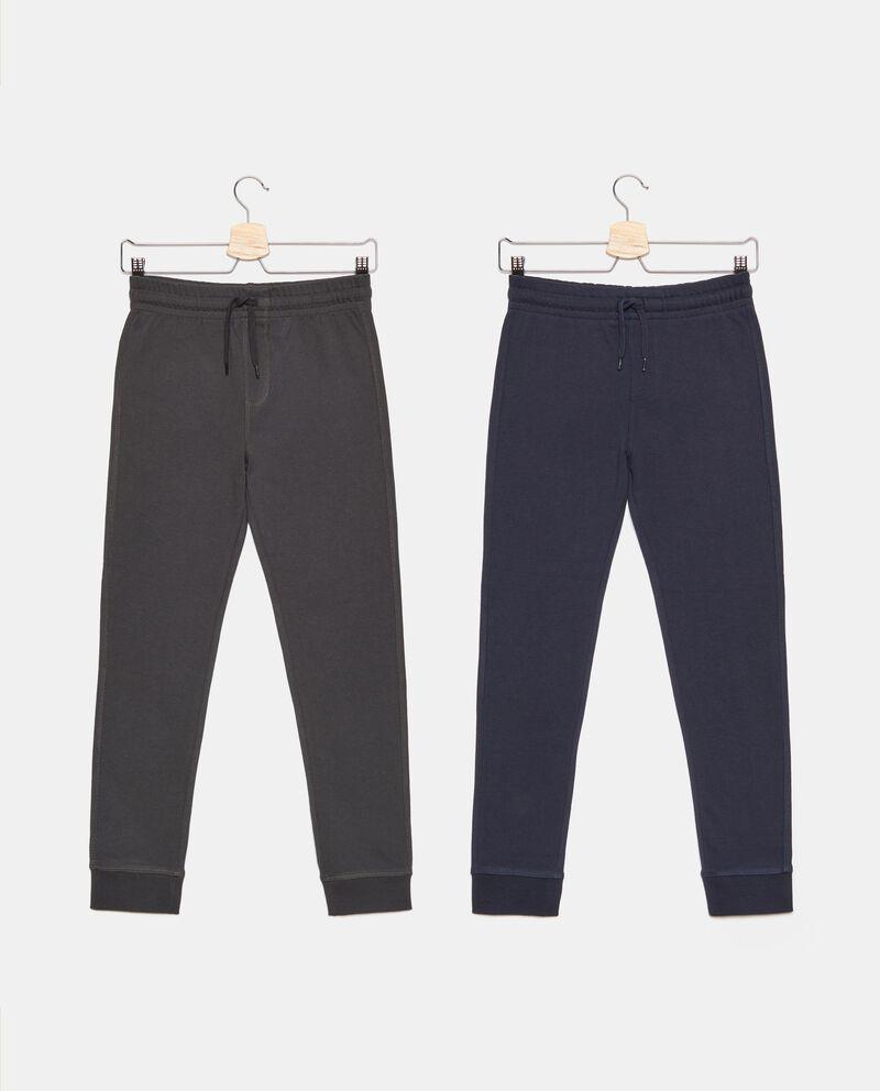 Bipack pantaloni in puro cotone tinta unita ragazzo