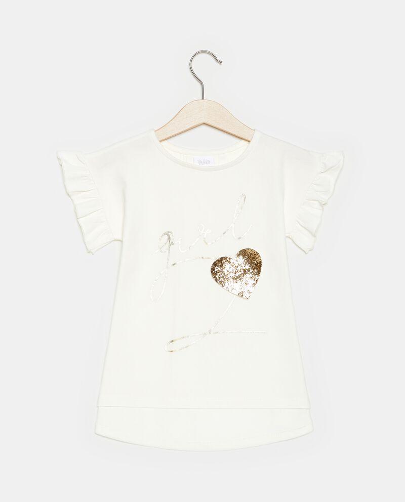 T-shirt con cuore paillettes e stampa
