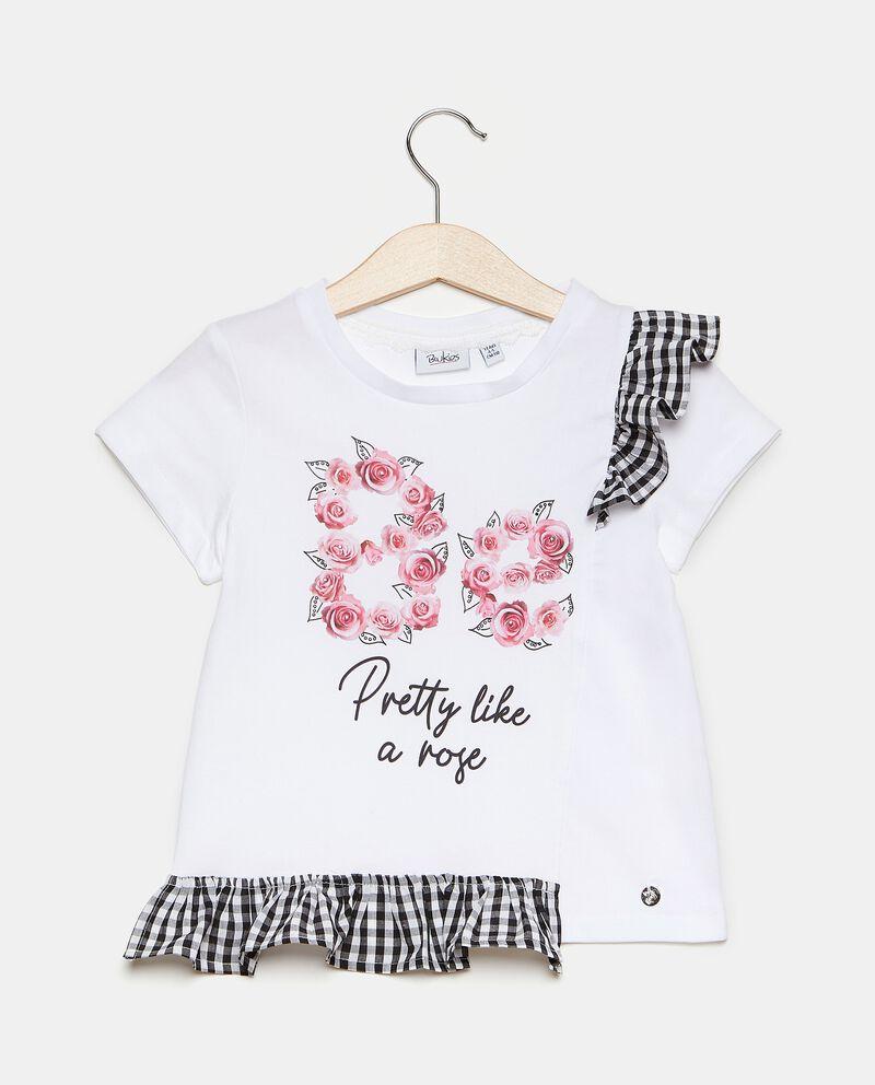 T-shirt in cotone elasticato con ruche a quadri bambina