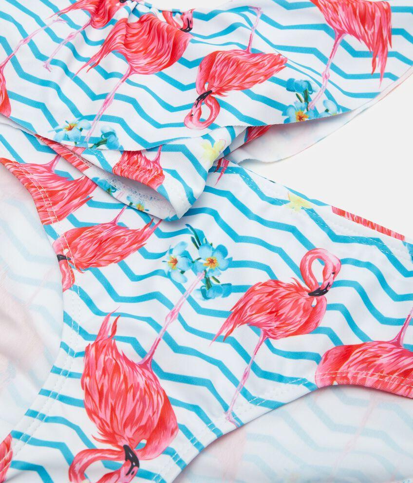 Costume bikini con fantasia fenicotteri e motivo a righe