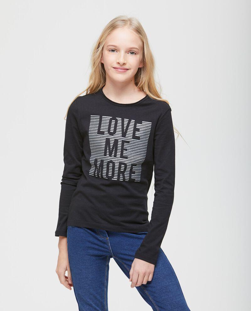 T-shirt stampa a righe glitter