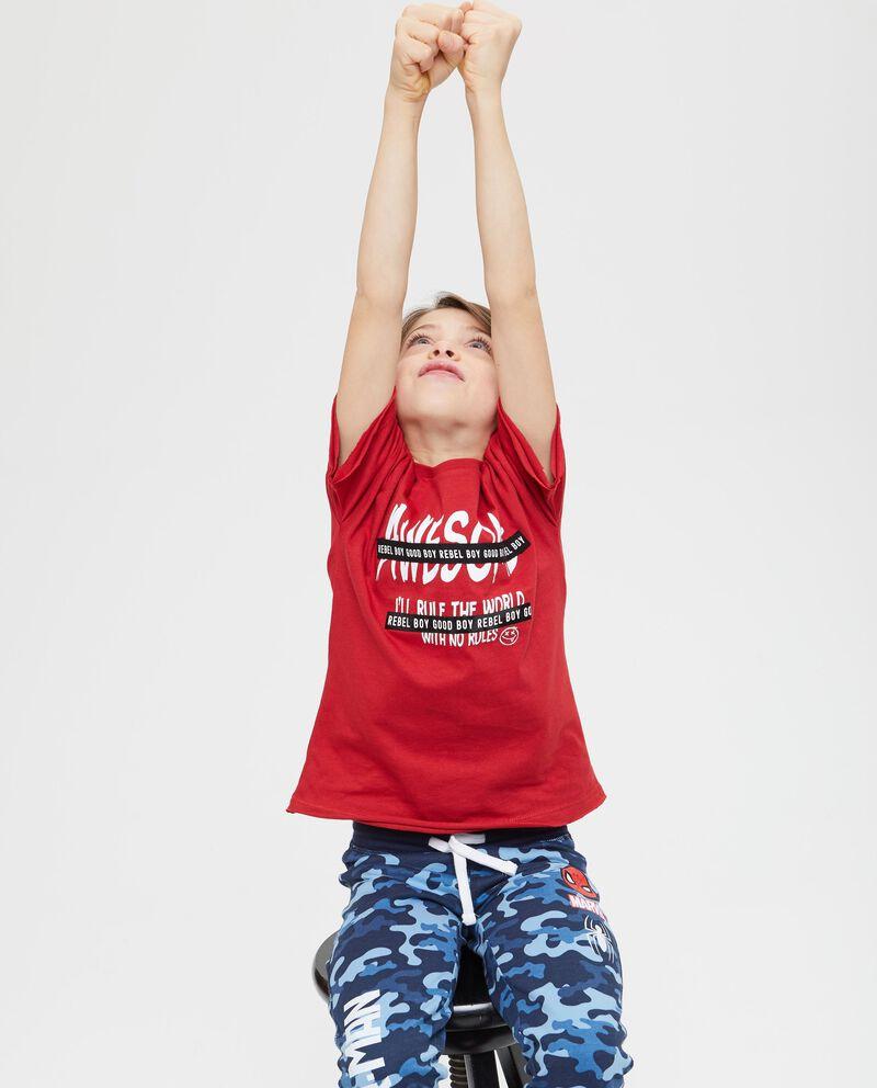 T-shirt girocollo tinta unita lettering