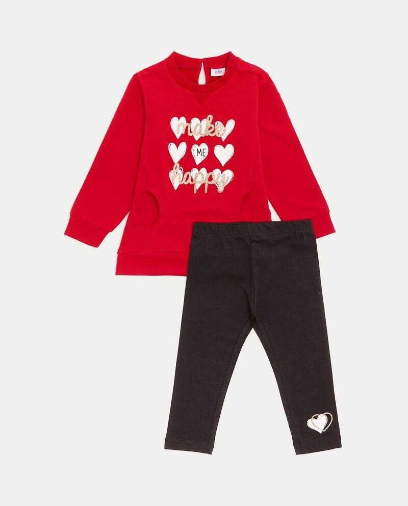 Completino in cotone biologico con maglia e leggings neonata