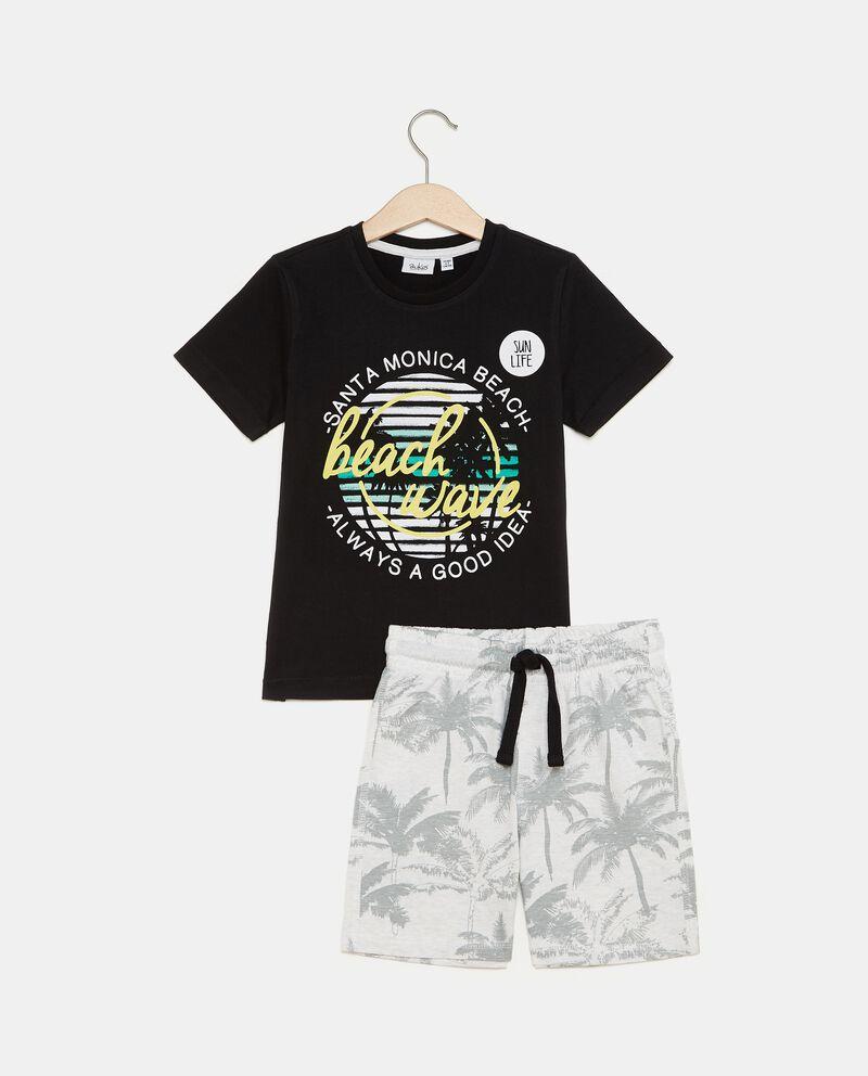 Set con t-shirt e shorts in puro cotone bambino