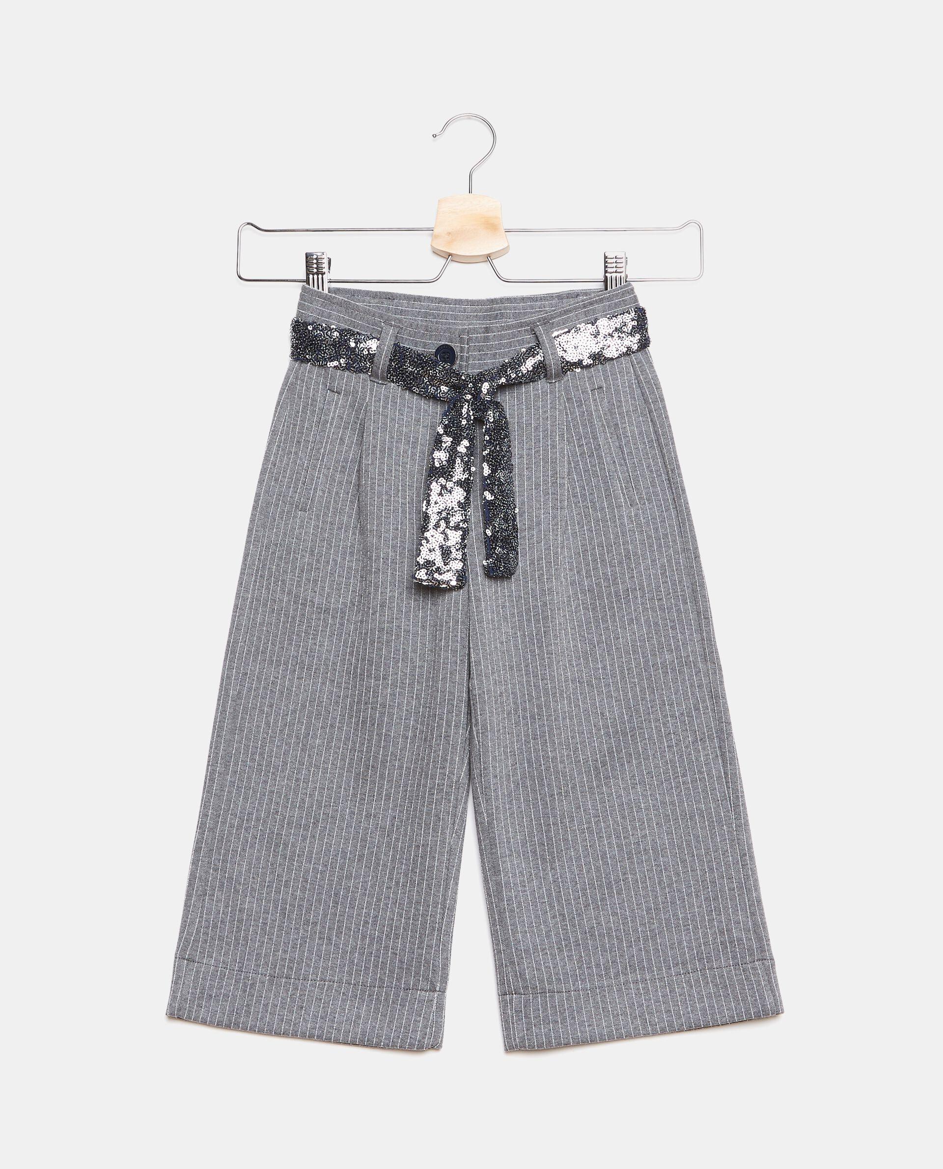 Pantaloni gessati con nastrino bambina