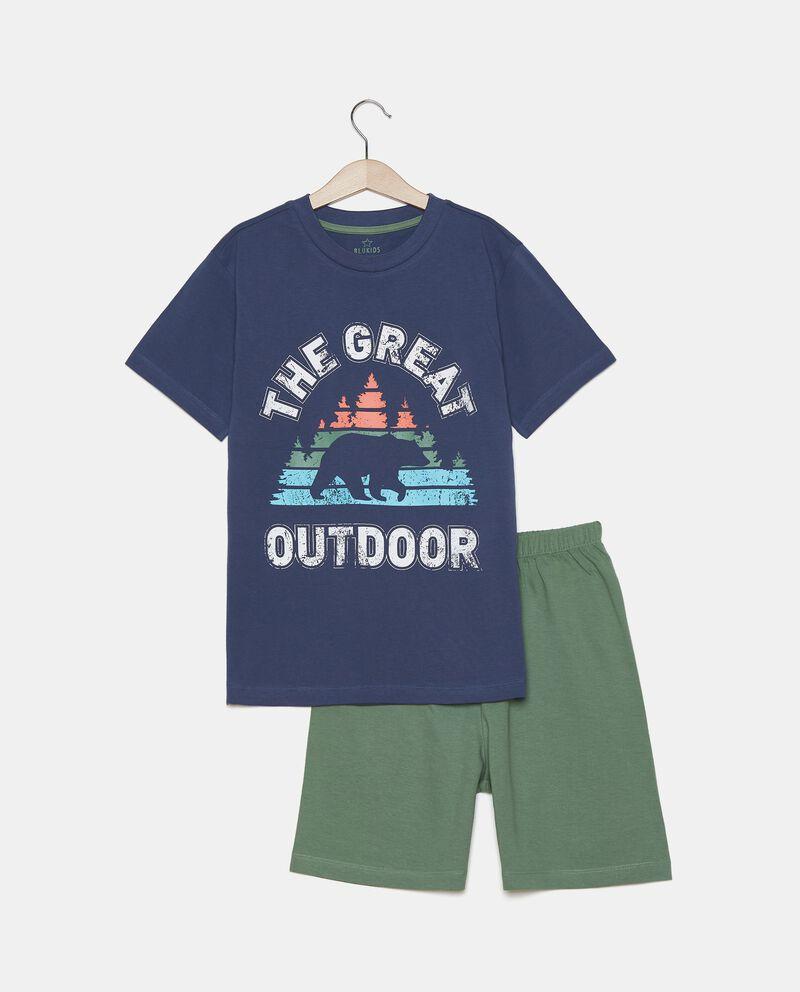 Pigiama con t-shirt e bermuda in cotone organico ragazzo cover
