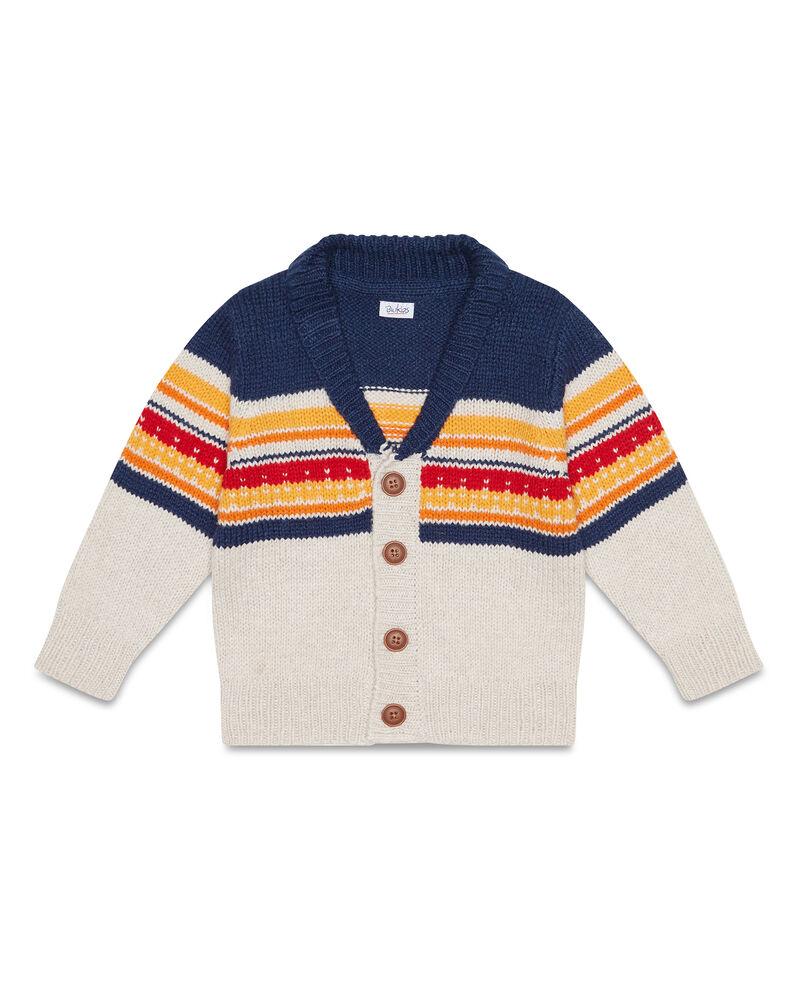 Cardigan tricot a righe collo a V