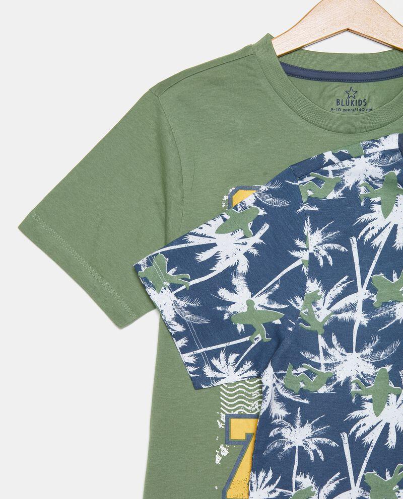 Bipack di 2 pigiami corti in cotone organico ragazzo single tile 1
