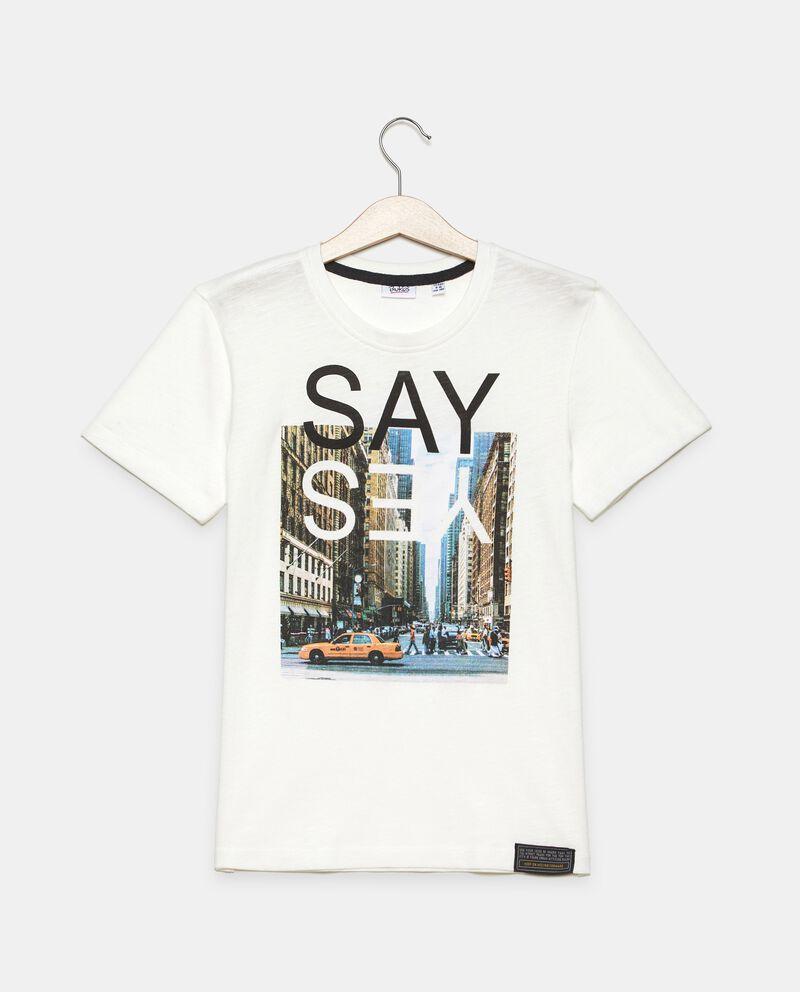 T-shirt in jersey cotone organico con stampa fotografica ragazzo