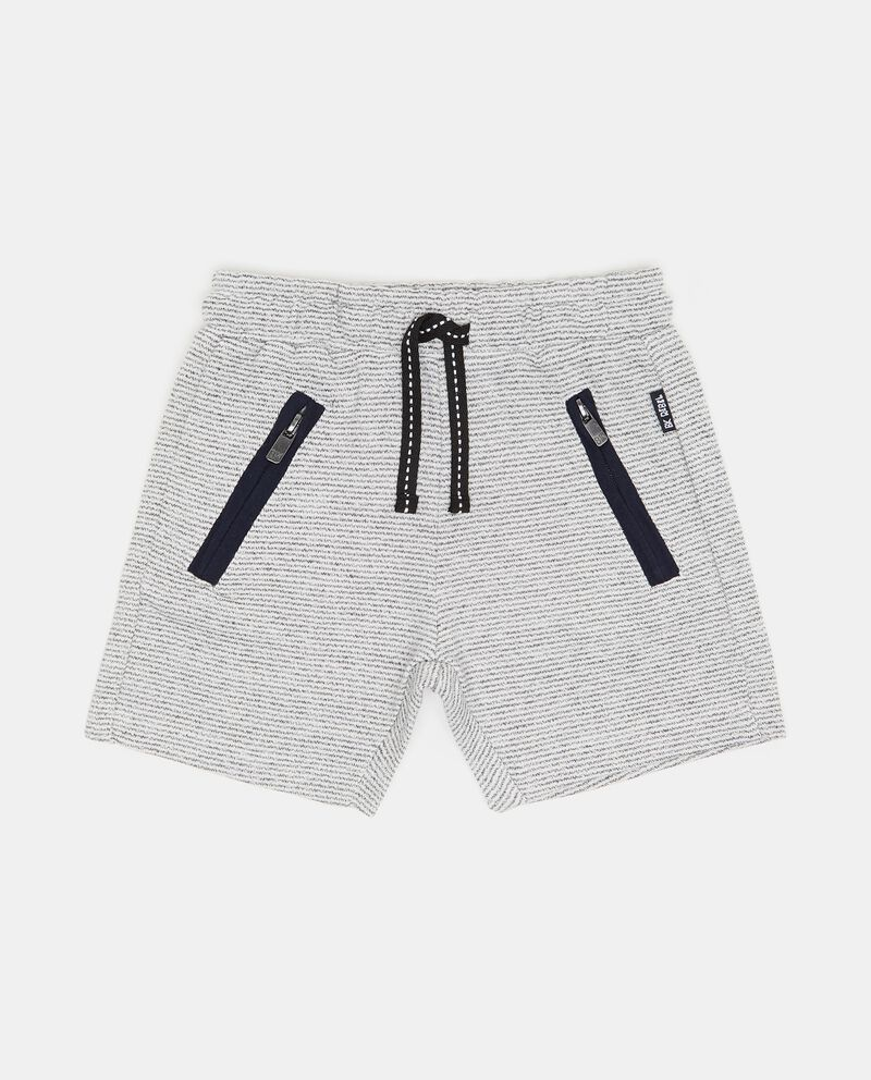 Shorts trama a righe e tasche con zip