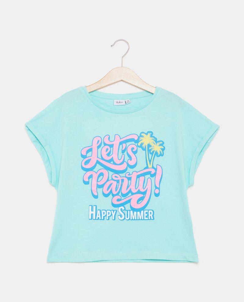 T-shirt cropped in puro cotone con stampa ragazza